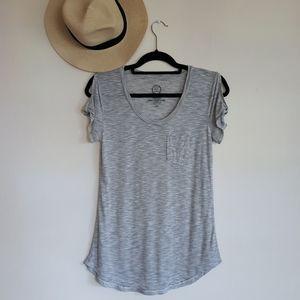 24/7 Pin Striped Cutoff Sleeve Summer Shirt